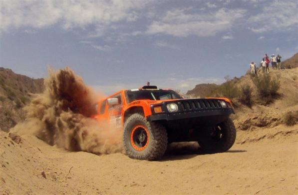 Robby Gordon and co-pilot Johnny Campbell drive their Hummer during the fourth stage of the fourth South American edition of the Dakar Rally 2012 from San Juan to Chilecito