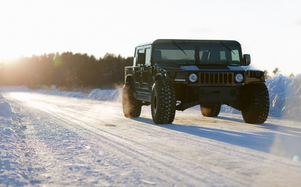 hummer in snow
